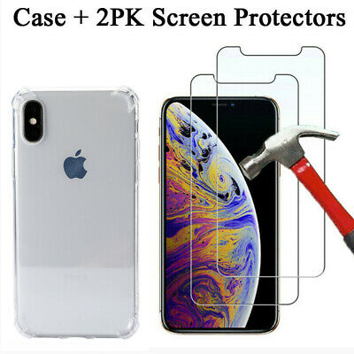 Case and 2PK Screen Protectors For iPhone 11 Pro Max 11 X XS Max XR Cover Clear