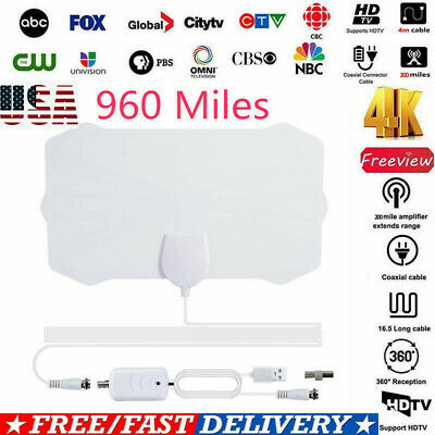 960 Mile Range Antenna with Amplifier TV Digital 1080P HD 4K Skywire Indoor US W
