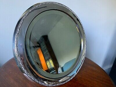 Large London 1920 Solid Silver Frame Round Dressing Table Easel Mirror