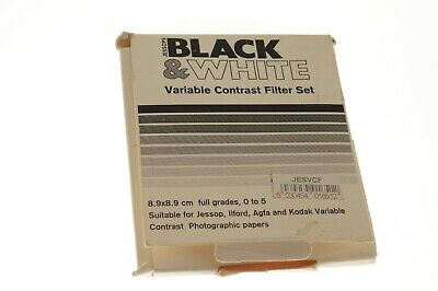 Jessops Black & White Variable contrast filter set. Good used condition.