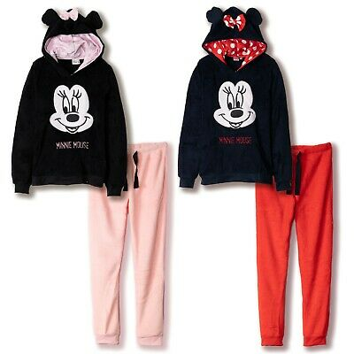 Womens Disney Minnie Mouse Pyjamas Loungewear Set Gift Winter Warm Coral Fleece