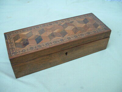 Antique Victorian Tunbridge Ware Box with Barton label.