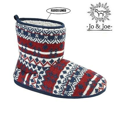 Mens Knitted Slipper Boots Winter Warm Fur Lining Booties Size 7 8 9 10 11 12