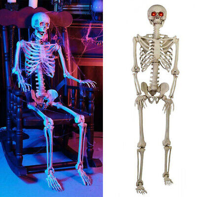 Halloween Skeleton Prop Hanging Haunted House Party Scary Decor LED Eyes 5 ft