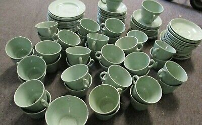 Large Lot of Woods Ware Green Beryl Cups, Saucers & Plates - Utility Ware - WW2