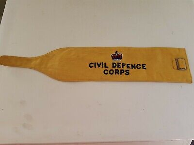 CIVIL DEFENCE CORPS Yellow Embroidered Armband 1954 Atwell+Jenner - War Weekend