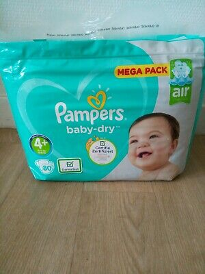 80 COUCHES PAMPERS BABY DRY taille 4+  MEGA PACK 10-15-kg NEUF