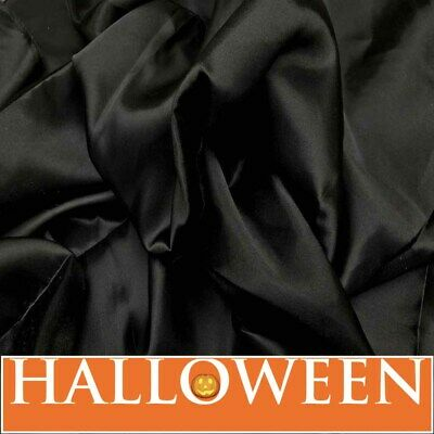 Black Silky Satin Fabric Gothic Dress Costumes Material Pantomime Theatre