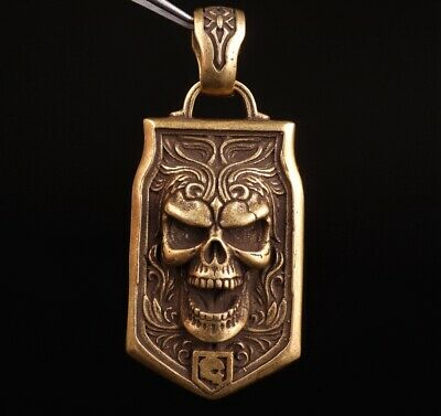 Chinese Old Bronze Handmade Skull Figurine Statue Pendant Gift Collection