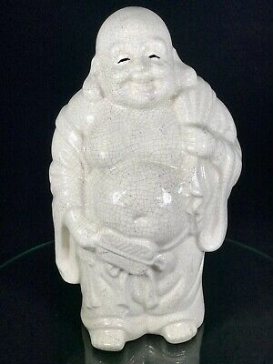 RARE OLD Vintage Chinese Porcelain Statue Laughing Happy Buddha Hotei With Sack
