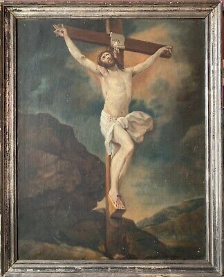 19th CENTURY FLEMISH OIL PAINTING - THE CRUCIFIXION OF CHRIST - LARGE CANVAS