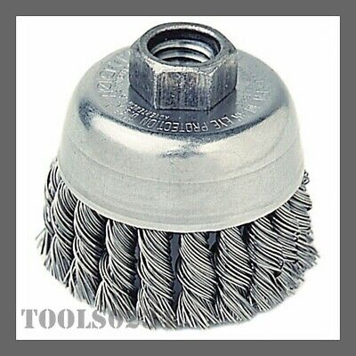 "Weiler 13258 2-3/4"" Row Knot Wire Cup Brush - .020"" Stnls Steel - 5/8-11 UNC Nut"