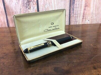 Cesare Emiliano Black Fountain Pen Refillable Green Ink Cartridge Gift Hard Box