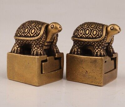 Unique Chinese Old Bronze Handmade Tortoise Figurine Statue Seal Gift Collection
