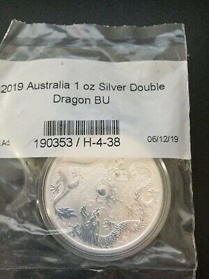 2019 1 oz Silver Double Dragon From the Perth Mint Doubled Sealed 50,000 Minted!
