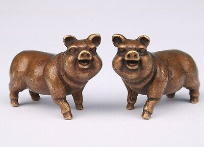 2 Unique Chinese Old Bronze Handmade Pig Figurine Statue Cute Gift Collection