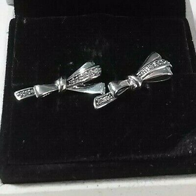 Authentic 925 Pandora Brilliant Bows Earrings Sterling Silver #297234CZ
