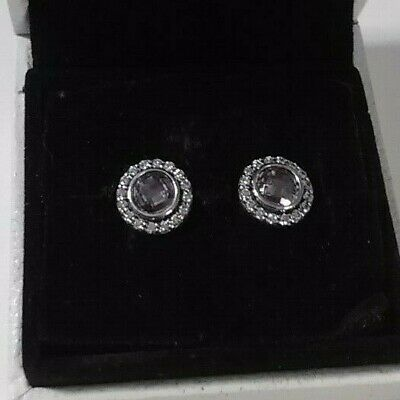 Authentic 925 Pandora Pink Legacy Earrings Sterling Silver #290553PCZ