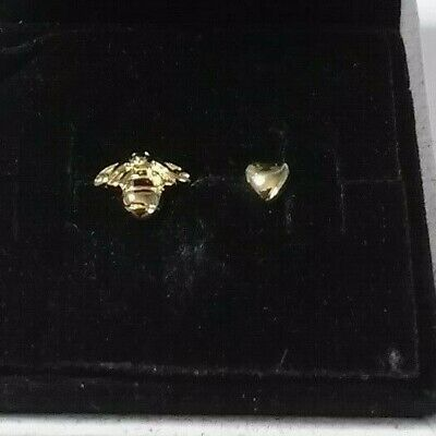 Authentic 925 Pandora Shine Heart and Bee Earrings Sterling Silver #267071