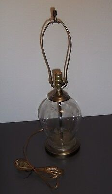 "Princess House Crystal ANTIQUE BRASS Table LAMP ~ 21.5"" H ~ Heritage pattern"