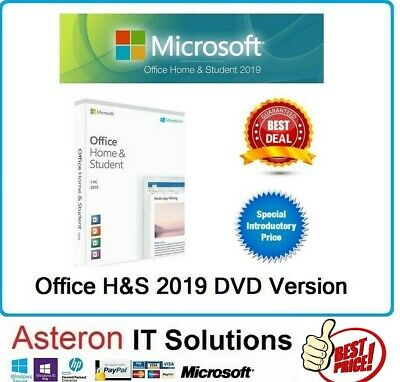 FACTORY SEALED Microsoft Office 2019 Home and Student DVD & PKC CARD 32/64Bit