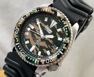 Seiko Ceramic DPM Military Camouflage Automatic Divers Date Watch Custom 7002