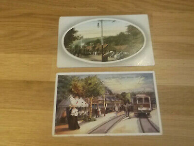 2 Lovely Vintage  Postcards Of The Laxey Electric Tram Station On Isle Of Man