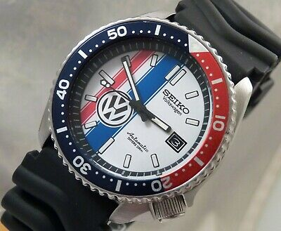 Seiko White Pepsi Herbie Love Bug 6105 Automatic Divers Date Watch Custom 7002