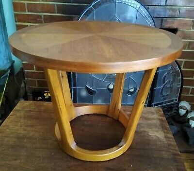 Mid Century Mod Lane Round Sculptural Walnut Side End Table Adrian Pearsall 1965