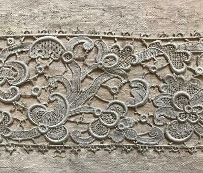 BEAUTIFUL 19th CENTURY VENETIAN ROSE POINT LACE, PICOTS FRILLS 78