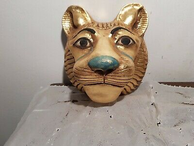 Rare Antique Ancient Egyptian Mask God Sekhmet lion War soldiers Army1870-1780BC