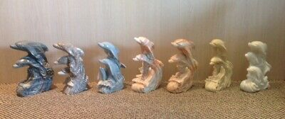 Up To 7 Marble Sculptures Of 3 Dolphins Leaping From Water Hand-Carved, Heavy!