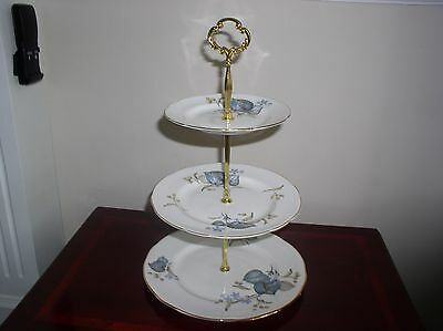 """""""Blue Leaves"""" China Cake Stand 3 Tier Or 2 Tier"""