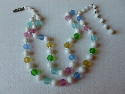 Vintage Double Strand Milk Glass Multi Colored Satin Beaded Necklace