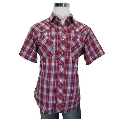 Wrangler Western Pearl Snap Shirt Size Large Mens Red Short Sleeve