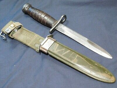 WWII US M1 Carbine Bayonet Case Fighting Knife Dagger w/M8 Scbd