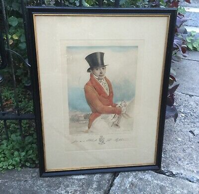 Vintage~Antique 1924 GORDON ROSS Signed Lithograph Print Hand Colored Fox Hunt