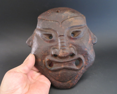 Old China hongshan culture jade stone Hand-carved sun god mask statue,830g