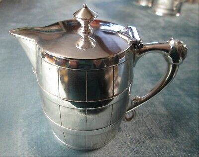 Antique Oak Barrel Syrup Pitcher Meriden Silverplate C 1880s Male Face on Handle