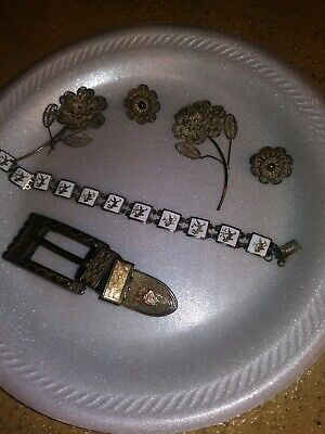 Mexican Sterling Silver Filigree Pins Antique / Belt Buckle/Bracelet