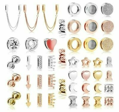 Nice Silver Plated Charm Rose& Gold Reflexions Smooth Love Heart Clip Lock Beads