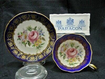 Paragon England Bone China Cobalt Blue & Gold PINK ROSES Tea Cup & Saucer Duo