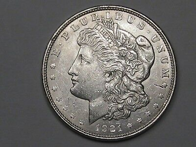 AU 1921-d Silver US Morgan Dollar.  #15