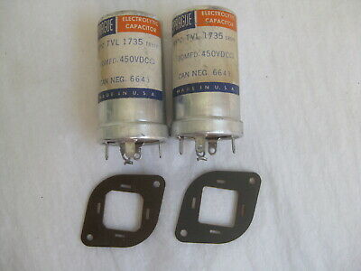 pair NOS SPRAGUE 80 uF 450V Electrolytic Capacitors for tube amplifier, low ESR