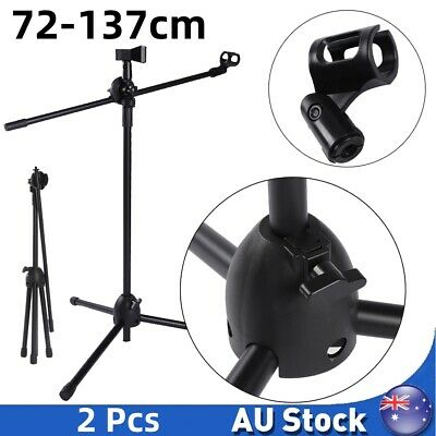 2Pcs Telescopic Boom Microphone Stand Adjustable Mic Holder Tripod Two Clip 1-2m