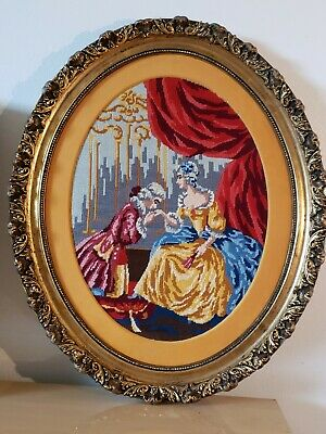 Antique Victorian Oval Wood Gold Gilt very ornate Frame EMBROIDERED Man n woman