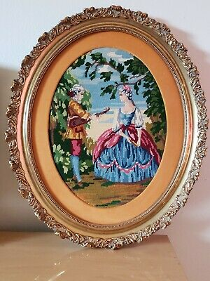 """Antique Victorian Oval Wood Gold Gilt very ornate Frame EMBROIDERED 24""""H x 20W"""