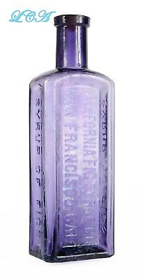 NICE purple paneled CALIFORNIA Fig Syrup S. F. CAL antique PATENT MED bottle