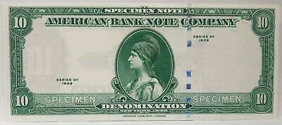 United States 1929  . 10 Dollars . Collector's Specimen Note . Very Scarce . Unc