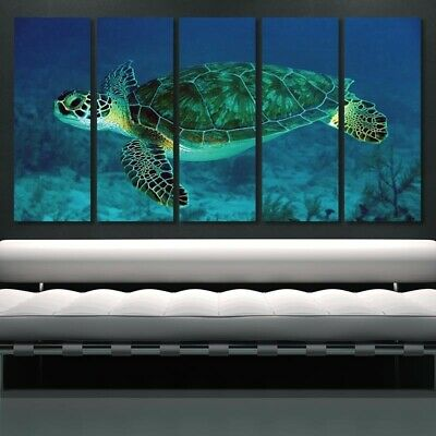 Blue Turtle Canvas Print Poster Wall Art Living Room Painting Frameless 5 Pieces